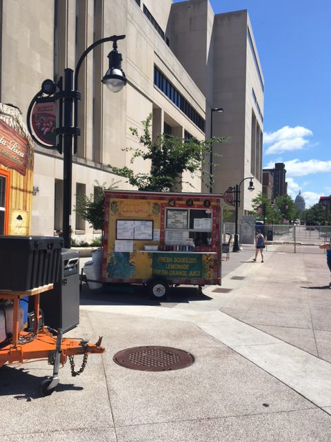 Food trucks outside the library